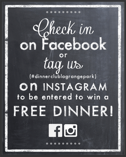 Check in on Facebook or Twitter to win a FREE DINNER!